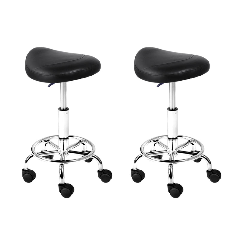 Artiss set of 2 SADDLE Salon Stool Black PU Swivel Barber Hair Dress Chair Hydraulic Lift