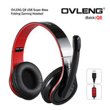 OVLENG Q8 USB Port Super Bass On-ear Headphones with Microphone & 2.0 m Cable (Black & Red)