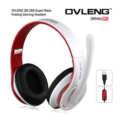 OVLENG Q8 USB Port Super Bass On-ear Headphones with Microphone & 2.0 m Cable (White & Red)