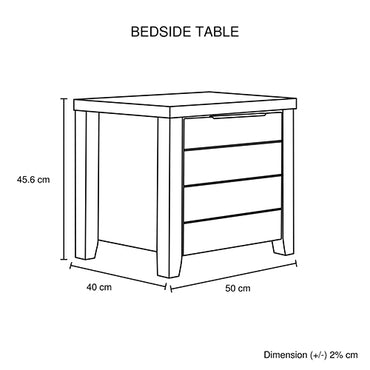 Cielo Bedside Table With Drawer White Ash