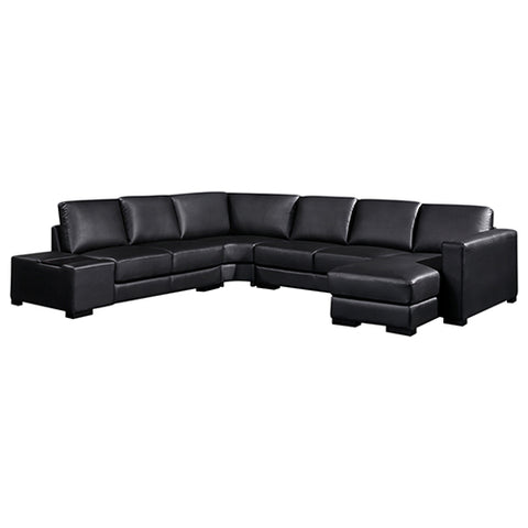 Diva Sofa U Shape Large Size Black Colour Bonded Leather