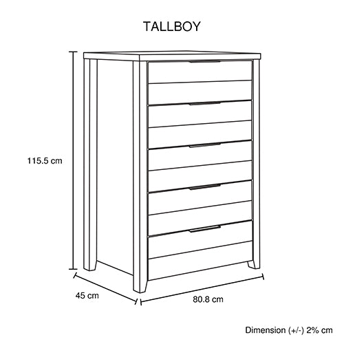 Cielo Tallboy White Bedroom Drawer Cabinet Ash
