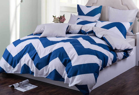 King Size Wide blue Zig Zag Quilt Cover Set(3PCS)