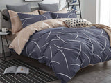 Queen Size Cotton White Curved Pattern Blue Grey Quilt Cover Set (3PCS)