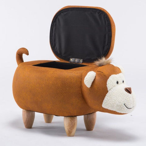 Bernice Brown Monkey Kiddie Ottoman Storage with Wooden Footrest