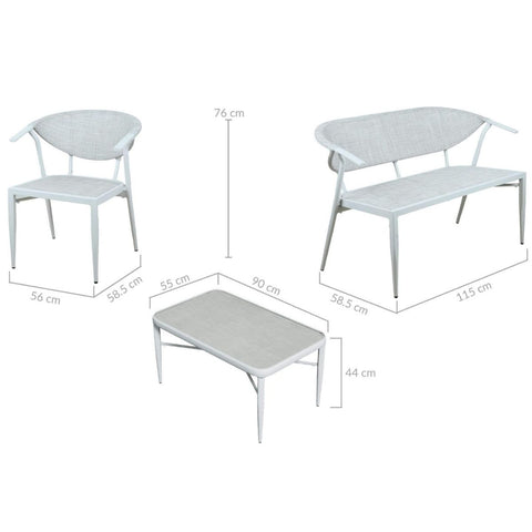 Sakura White 4 Seater Aluminium Outdoor Lounge Setting
