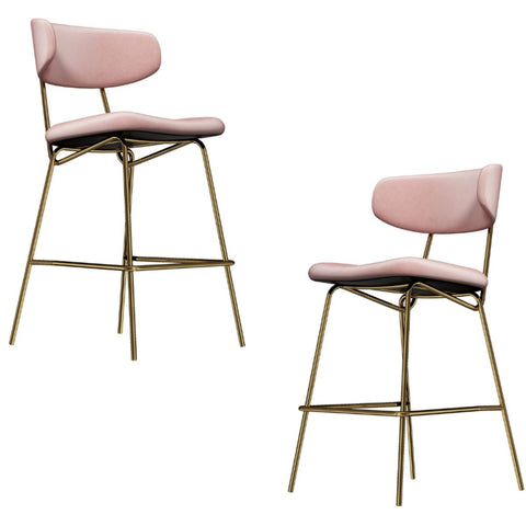 Kylie Modern Blush Velvet Barstool with Gold Legs Set of 2