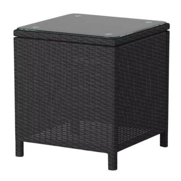 Lucia 2 Seater Rattan Outdoor Balcony Set Black