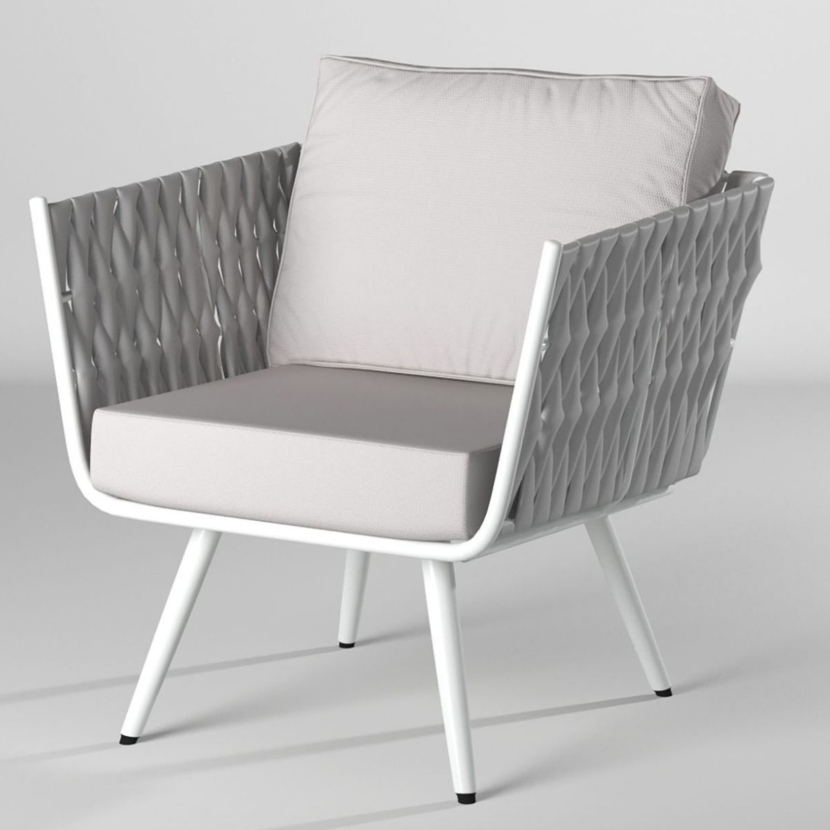 Milano White Outdoor One-Seater Sofa with Cushions