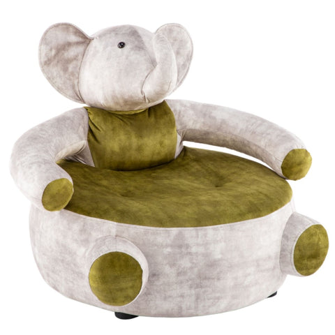 Gregory Grey Green Solid Wooden Structure Elephant Character Sofa or Armchair