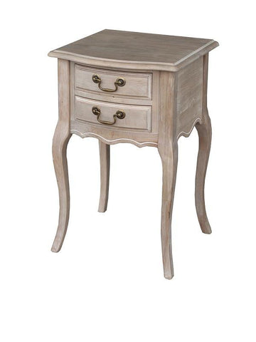 Wash White Louis XV Bedside Table