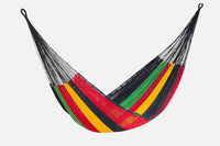 Jumbo Size Outdoor Cotton Hammock in Rasta