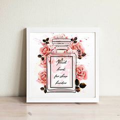 Allenjoy Watercolor Wall Pictrues Rose Perfume Bottle Motivational Quotes Canvas Paitntings Fashion Girls Bedroom Decor Posters