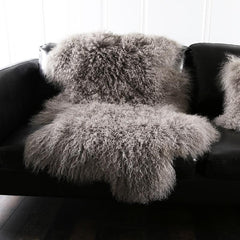 Sheepskin Shag Rug 100% Genuine Mongolian Free Shaped Cut