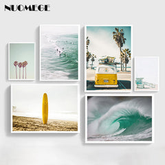Nordic Style Beach Wall Art California Beach Canvas Painting Ocean Posters and Prints Decorations for Livingroom Home Decor