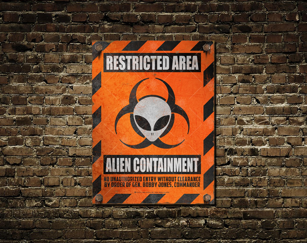 Restricted area, alien containment, personalized warning, caution sign, poster print, canvas print, shown mounted to old vintage brick wall.