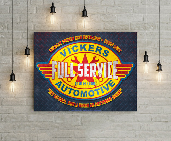 Full service automotive sign, poster print, canvas print, shown mounted on white brick wall, hanging lights around.