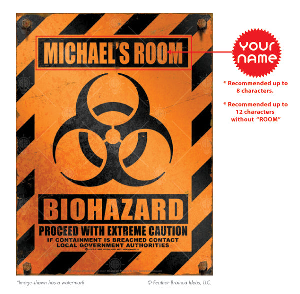 Orange and black biohazard caution sign print, instructions for personalization.