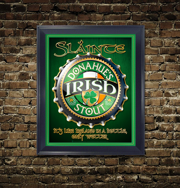 Slainte, Irish bottlecap, personalized poster print, canvas print, framed print, displayed with green and gold mats, black frame, mounted on old rustic brick wall.