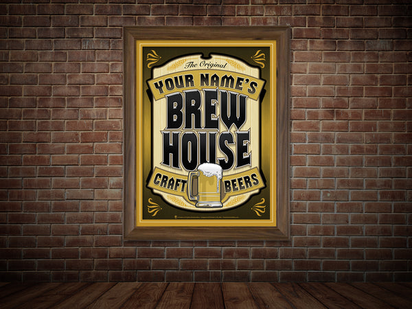 Your name brew house, personalized poster print, canvas print, shown in gold and black mats, brown frame, mounted on old brick wall.
