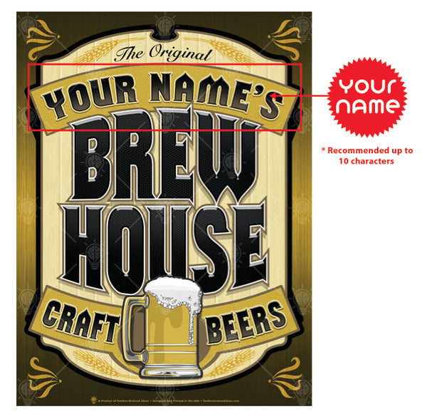 Your name brew house, personalized poster print, canvas print, instructions for personalization.