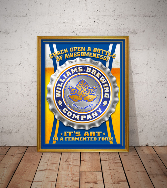 your brewing company, personalized beer poster print, canvas print, framed print, displayed in golden frame, white rustic wall, old wood plank floor.
