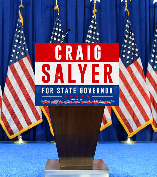 Your state governor, personalized political satire poster print, canvas print, shown displayed on podium, american flags in background.