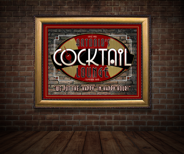 Your cocktail lounge, personalized bar themed poster print, canvas print, framed print, shown in black and red mats with black frame, mounted on old brick wall, old dark wood beam floor.