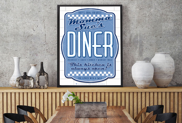 Your diner, personalized poster print, canvas print, displayed in a wood frame, kitchen or dining area, grey rustic plaster wall, shelf top with accessories.
