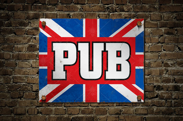 English Pub sign, poster, canvas print, shown displayed on old vintage brick wall background.