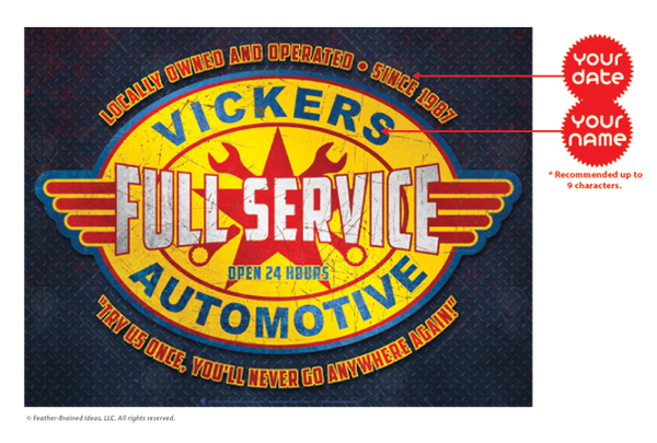 Full service automotive sign, poster print, canvas print, instruction for personalization.