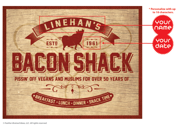 Your bacon shack, personalized poster print, canvas print, instructions for personalization.