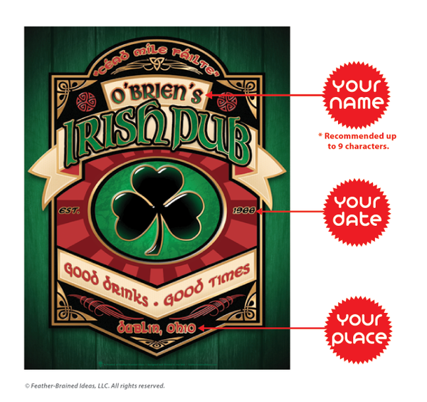 Black shamrock, personalized Irish pub, poster print, canvas print, framed print, instructions for personalization.