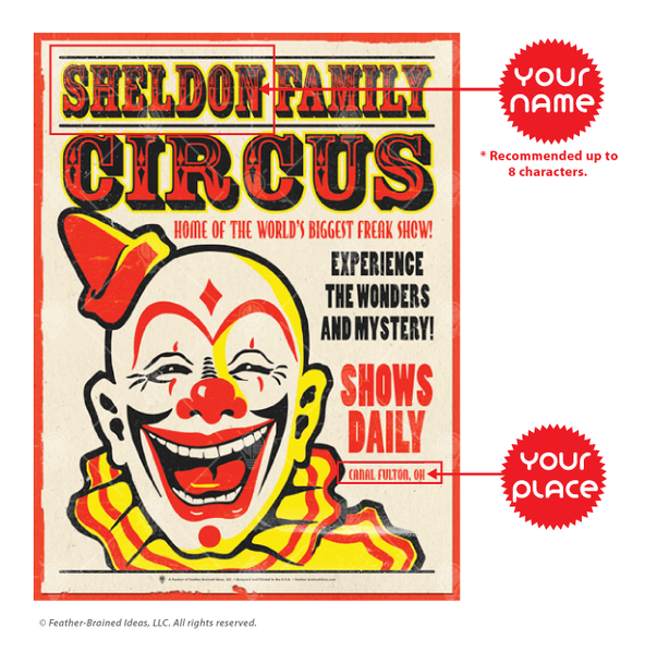 Personalized Family Circus poster print, canvas print, instruction for personalization.