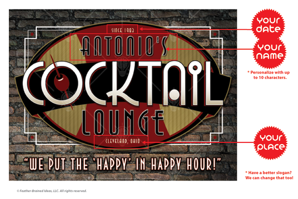 Your cocktail lounge, personalized bar themed poster print, canvas print, framed print, instructions for personalization.