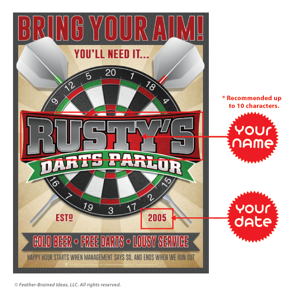 Personalized Dart Parlor Print, Instructions for Personalization