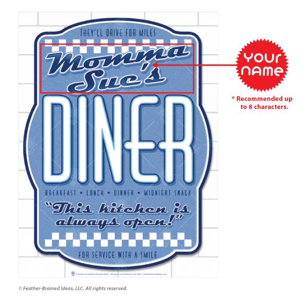 Your diner, personalized poster print, canvas print, instructions for personalization.