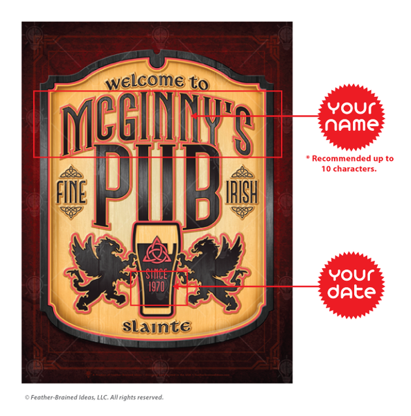 Personalized Fine Irish Pub print, canvas print, instructions for personalization.