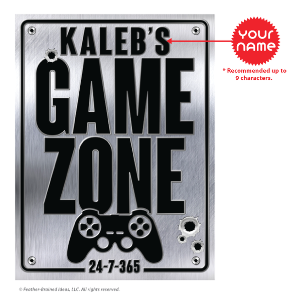 Game zone personalized sign, poster print, canvas print, instruction for personalization.