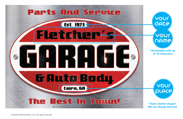 Your garage and auto body, personalized mechanic and garage poster print, canvas print, instructions for personalization.