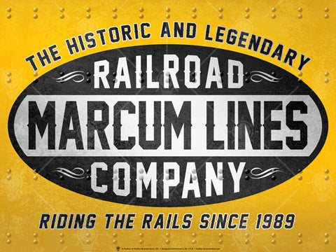Your lines, railroad company, personalized poster print, canvas print, old vintage look, old metal and rivots, yellow background, black and white logo text.