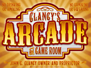 Old time arcade, perdsonalized poster print, canvas print, gold and brown background with light rays, carved sign board with old style text, reds, whites and golden colors.