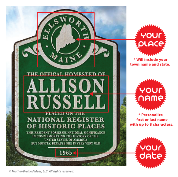 Historic Places marker sign, personalized poster print, canvas print, instructions for personalization.