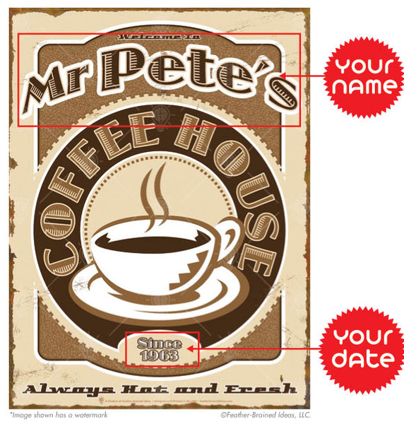 The coffee house sign print, vintage and retro style theme, instructions for personalization.