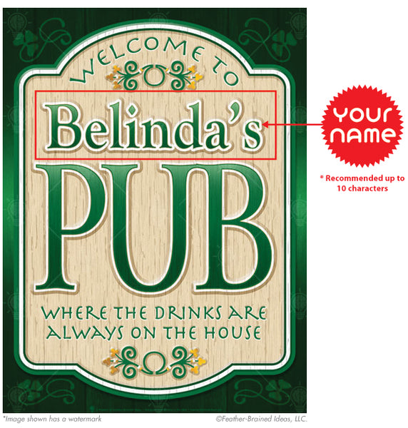 The old pub, personalized Irish pub sign, poster print, canvas print, framed print, instructions for personalization.
