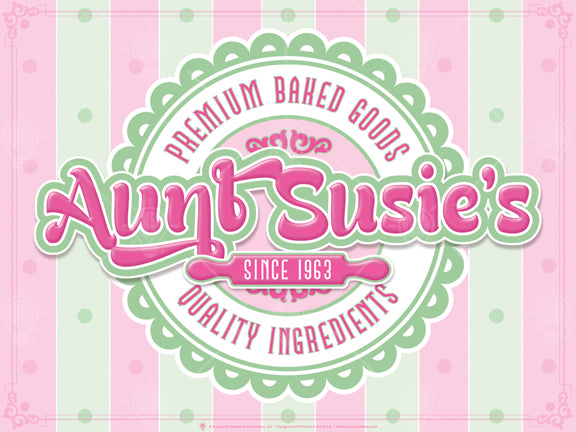 Premium baked goods, personalized poster print, canvas print, pink and mint green vertical stripes in background, round fancy graphic represents a cake, text across the middle, pint rolling pin.