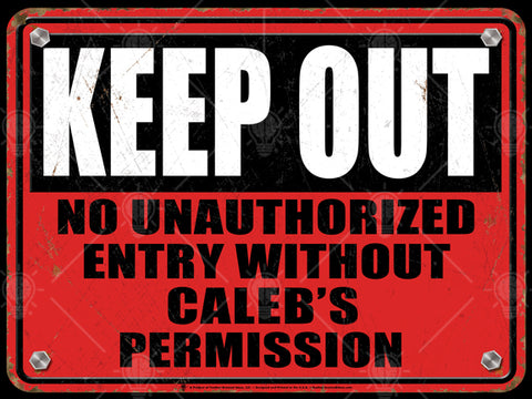 Keep out personalized warning sign, poster print, canvas print, vintage and rustic look, red background, distressed, black and white type, rusted edges.