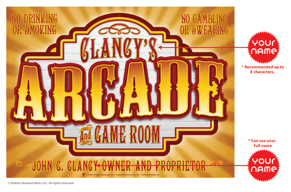 Old time arcade, perdsonalized poster print, canvas print, instructions for personalization.