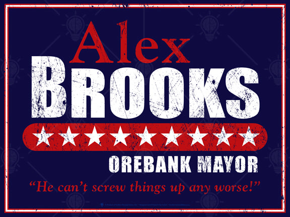 The moderate, personalized faux political campaign poster print, nave, red and white text, white stars, distressed look.