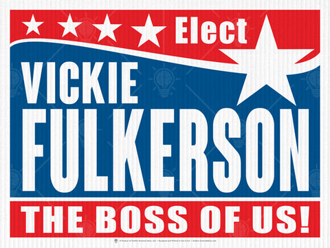 the boss of us, personalized political campaign poster, canvas print, red, white and blue, large white star.